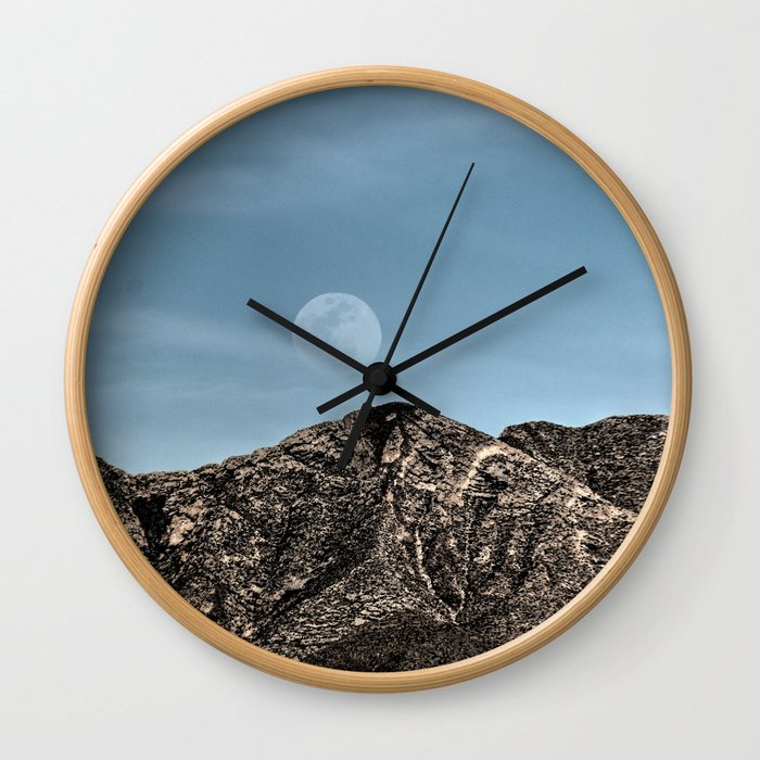 Moon over the Franklin Mountains Wall Clock