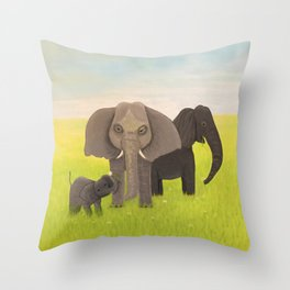 Elephant Picnic Throw Pillow
