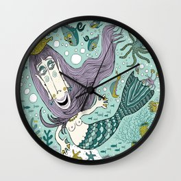 Quirky Mermaid with Sea Friends Wall Clock