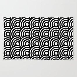 Black and White Geometric Japanese Circles Art Deco Print Rug