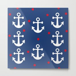 Nautical Anchors Metal Print