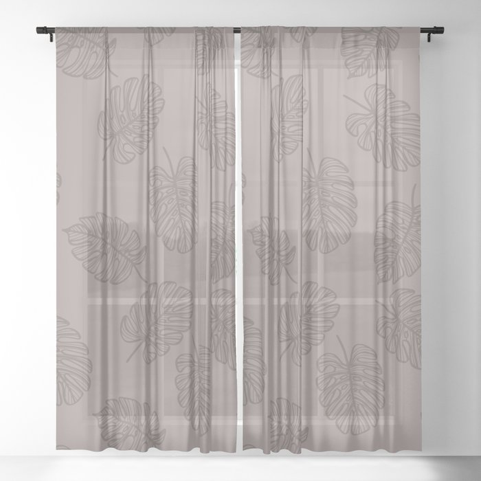 UrbanNesian Grey Monstera Leaf Sheer Curtain