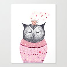 Owl lover of coffee Canvas Print