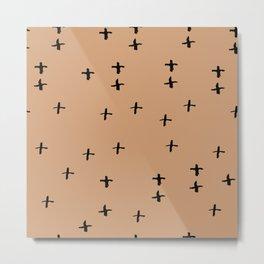 brown black cross lines chalk grid design, abstract simple scandinavian style. trend of the season. Metal Print