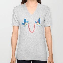 Birds and necklace Unisex V-Neck