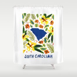 South Carolina + Florals Shower Curtain