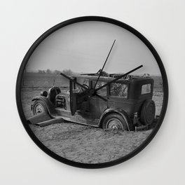 Vintage Automobile After A Flood - Indiana - 1937 Wall Clock