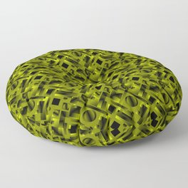 Stylish design with rotating circles and yellow rectangles from dark stripes. Floor Pillow