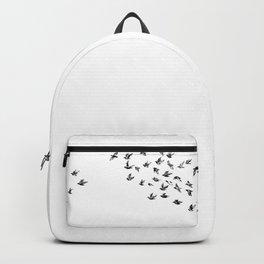 Take Flight Black Birds on White Backpack