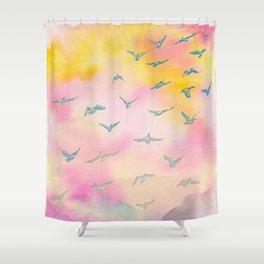 Sunset Birds Shower Curtain