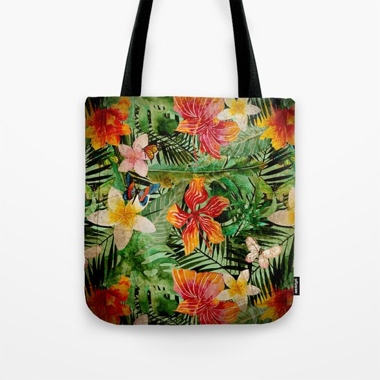 Tropical Vintage Exotic Jungle Flower Flowers - Floral watercolor pattern on #Society6 Tote Bag