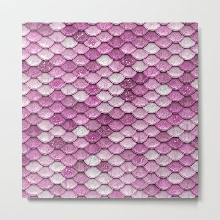 Light Pink Glitter mermaid sparkling scales - Mermaidscales Metal Print