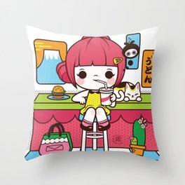 Fuji Girl Throw Pillow