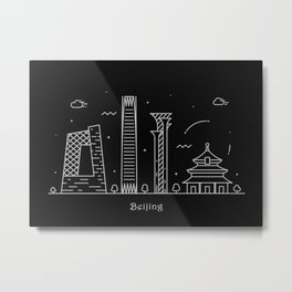 Beijing Minimal Nightscape / Skyline Drawing Metal Print
