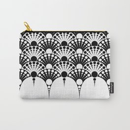 black and white art deco inspired fan pattern Carry-All Pouch