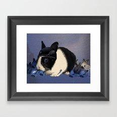 Blue Biker Bunny Print Framed Art Print
