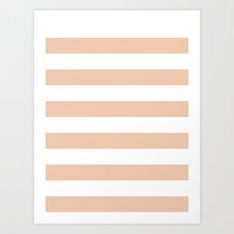 Horizontal Stripes - White and Desert Sand Orange Art Print
