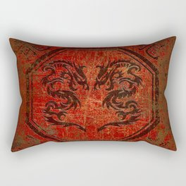 Dueling Dragons In An Octagon Frame With Chinese Dragon Characters Red Tint Distressed Rectangular Pillow