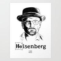 Heisenberg Black - White Background Art Print