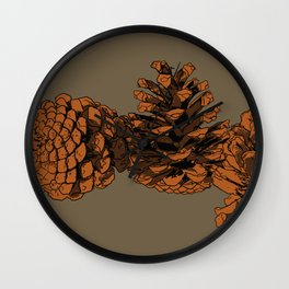 Brown on Brown Pine Cones Wall Clock
