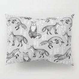 Fox pattern drawing foxes cute andrea lauren grey forest animals woodland nursery Pillow Sham