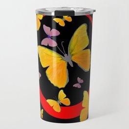 YELLOW BUTTERFLIES & RED RING  ABSTRACT ART Travel Mug