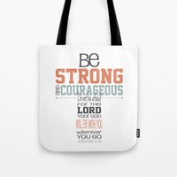 scripture Tote Bags featuring Joshua 1:9 Cross Scripture Print by j4frank4