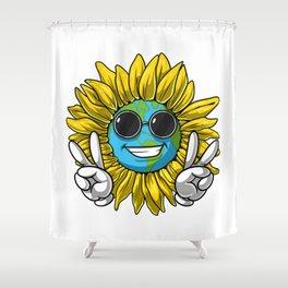 Planet Earth Sunflower Hippie Shower Curtain