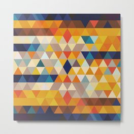 Geometric Triangle - Ethnic Inspired Pattern - Orange, Blue Metal Print