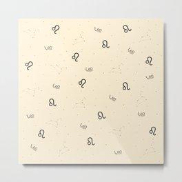 Leo Pattern - Beige Metal Print
