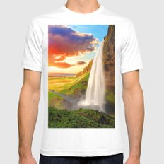 Long Water scape Mens Fitted Tee MEDIUM White