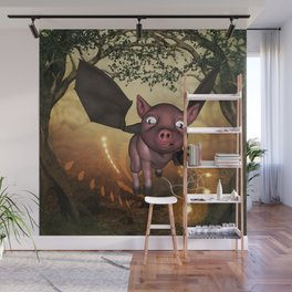 Funny little piglet with wings Wall Mural