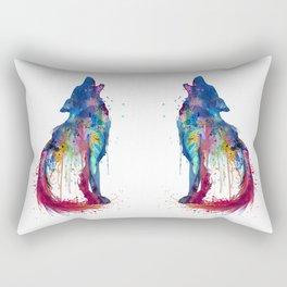 Howling Wolf Watercolor Silhouette Rectangular Pillow