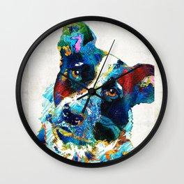Colorful Dog Art - Irresistible - By Sharon Cummings Wall Clock