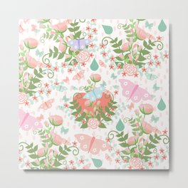 Pastel coral pink green butterfly floral polka dots Metal Print