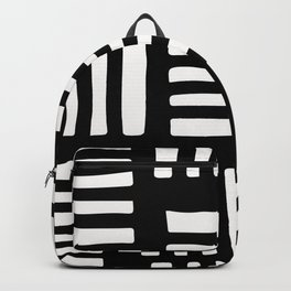 White Abstract Line Scatter Pattern On Black Backpack