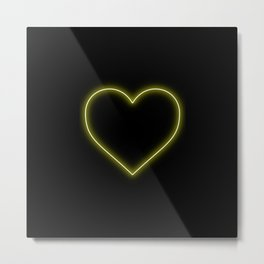 Yellow Neon Valentines Love Heart Metal Print