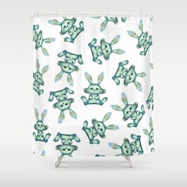 Blue rabbit with flora instead of coat Shower Curtain
