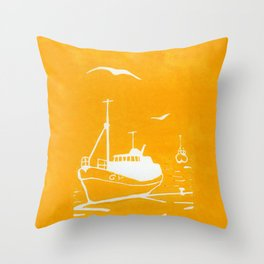 Comrades in Yellow Throw Pillow