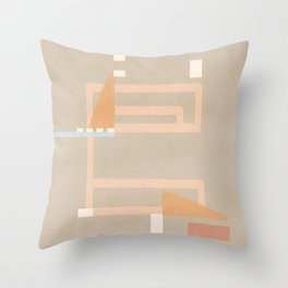 labyrinth or maze of abstract geometrical shapes Throw Pillow