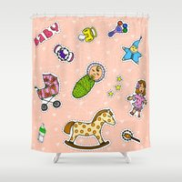 stickers Shower Curtains featuring For Mommy stickers by Lisidza's art