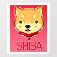 shiba Art Prints featuring Shiba  by SCAD Illustration Club