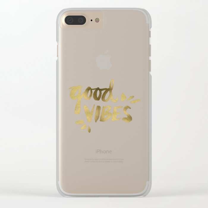 Good Vibes – Gold Ink Clear iPhone Case