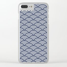 Navy Blue Wave Clear iPhone Case