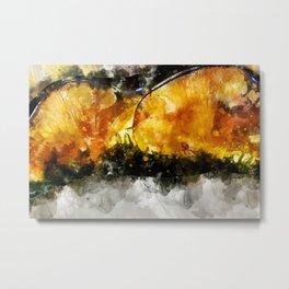 Forest Yellow Mushroom Metal Print