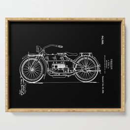 1919 Motorcycle Patent Black White Serving Tray