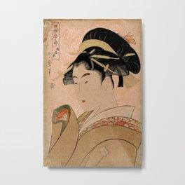 Vintage Japanese Ukiyo-e Woodblock Print Woman Portrait V Metal Print