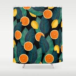 Lemons And Oranges On Black Shower Curtain