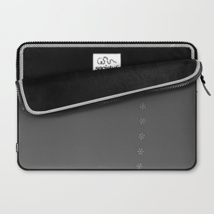 Snowflakes on Gray background Laptop Sleeve