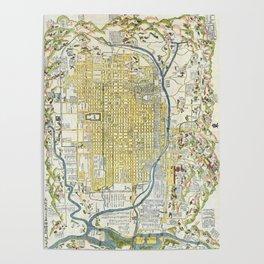 Japanese woodblock map of Kyoto, Japan, 1696 Poster